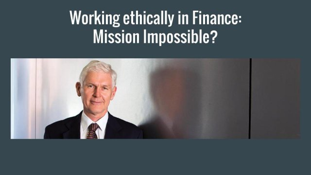 Working ethically in finance : clarifying our vocation